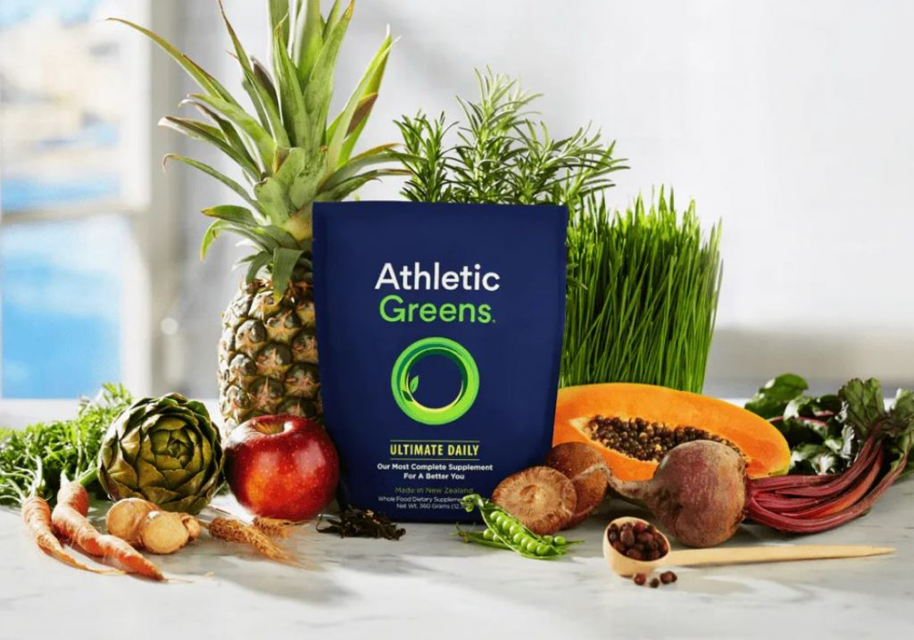 fresh fruit and vegetables and Athletic Greens